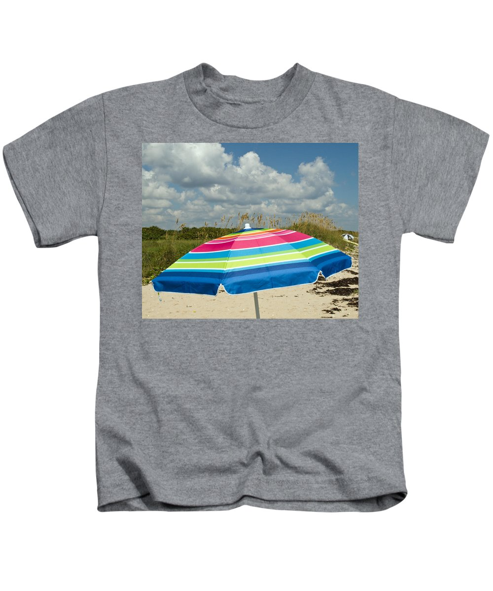 Florida; Beach; Coast; Shore; Atlantic; East; Waves; Sand; Dunes; Sea; Oats; Seaoats; Plant; Grass; Kids T-Shirt featuring the photograph Sea Oats On The Beach by Allan Hughes