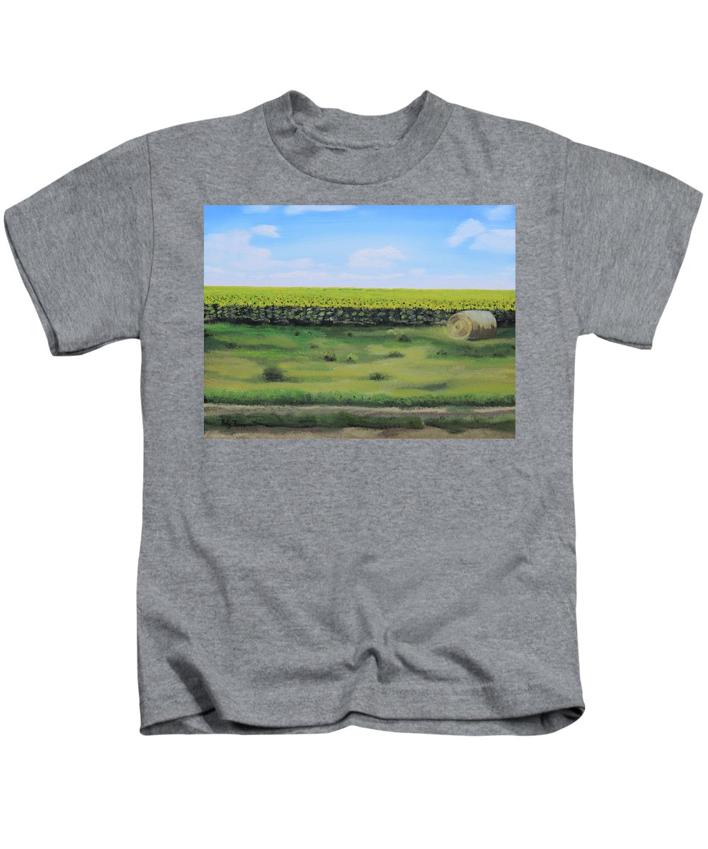Landscape Kids T-Shirt featuring the painting Sea Of Sunflowers by Kelly Korver