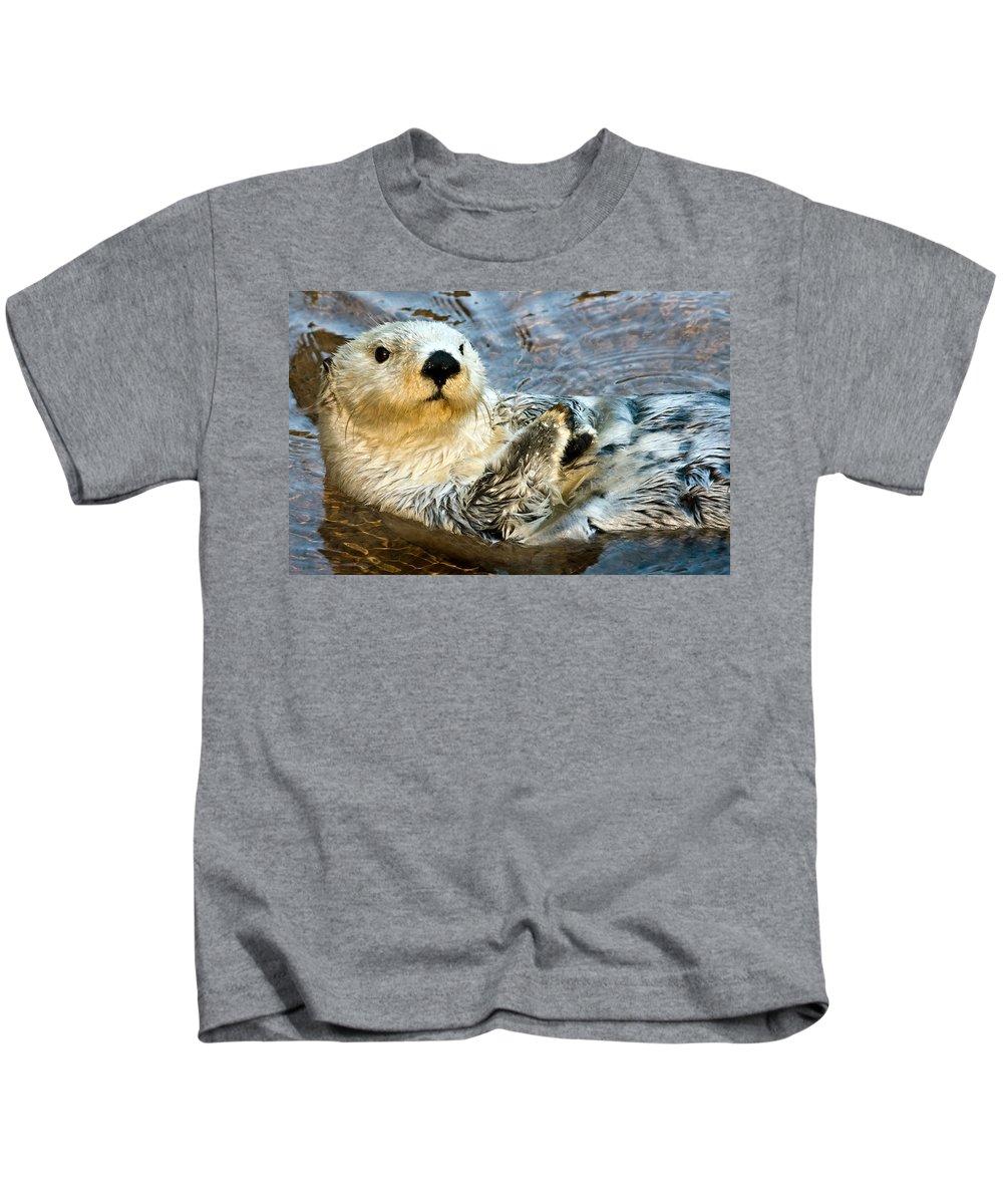 Animal Kids T-Shirt featuring the photograph Sea Otter Portrait by Jim Chamberlain