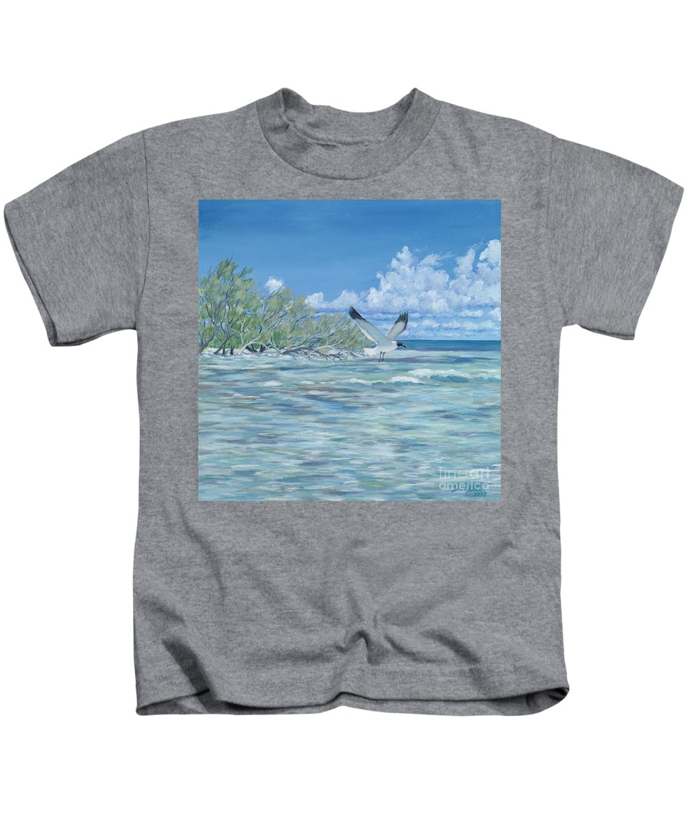 Seascape Kids T-Shirt featuring the painting Seablue by Danielle Perry