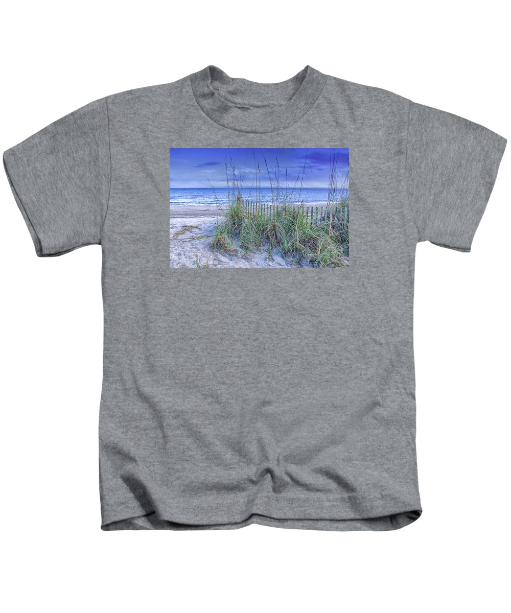 Edisto Island Kids T-Shirt featuring the photograph Seagrass And Sand by Carol Ward