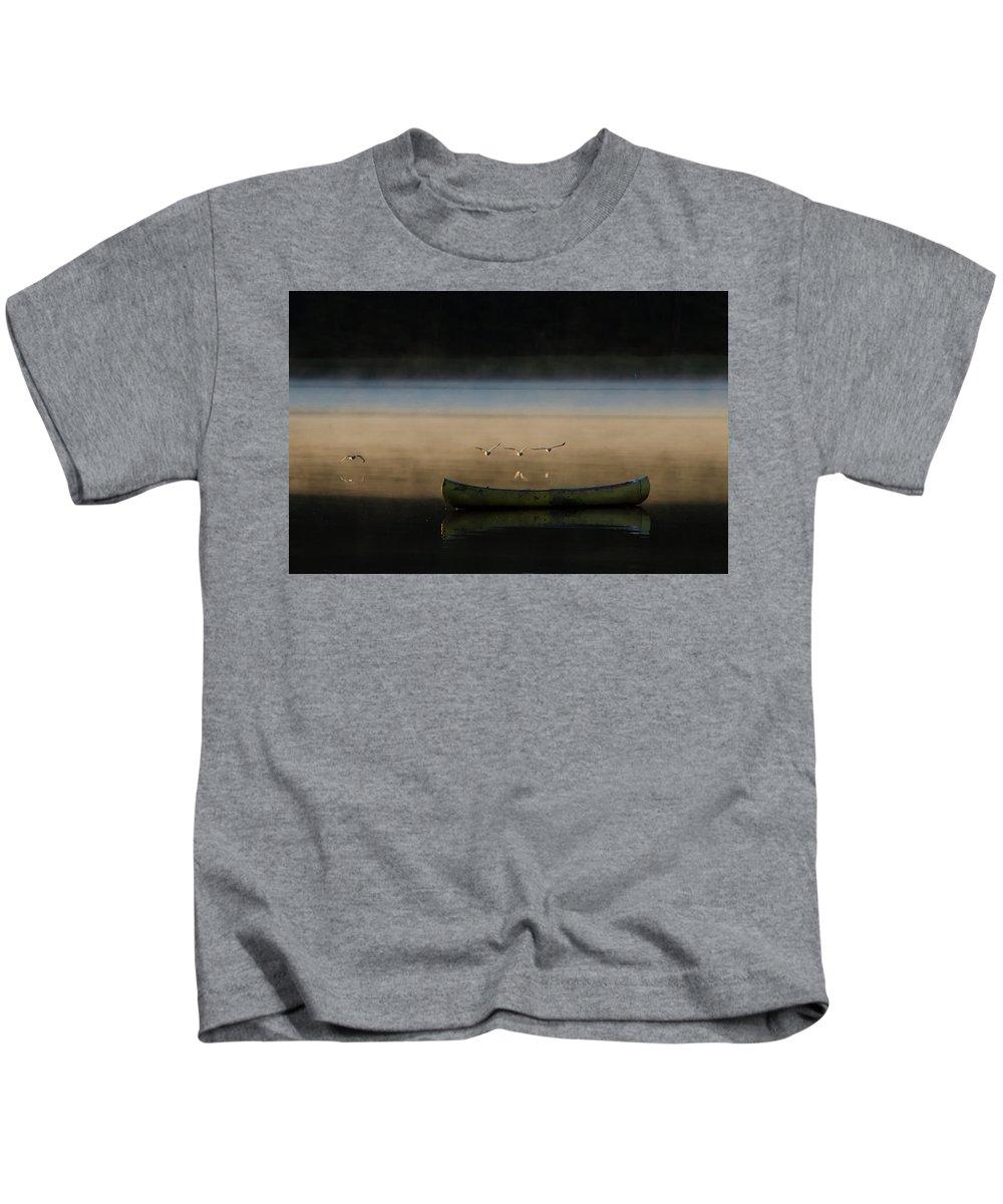 Seagulls Kids T-Shirt featuring the photograph Seagulls Over Maquoit Bay,brunswick Me by Floyd Aldrich