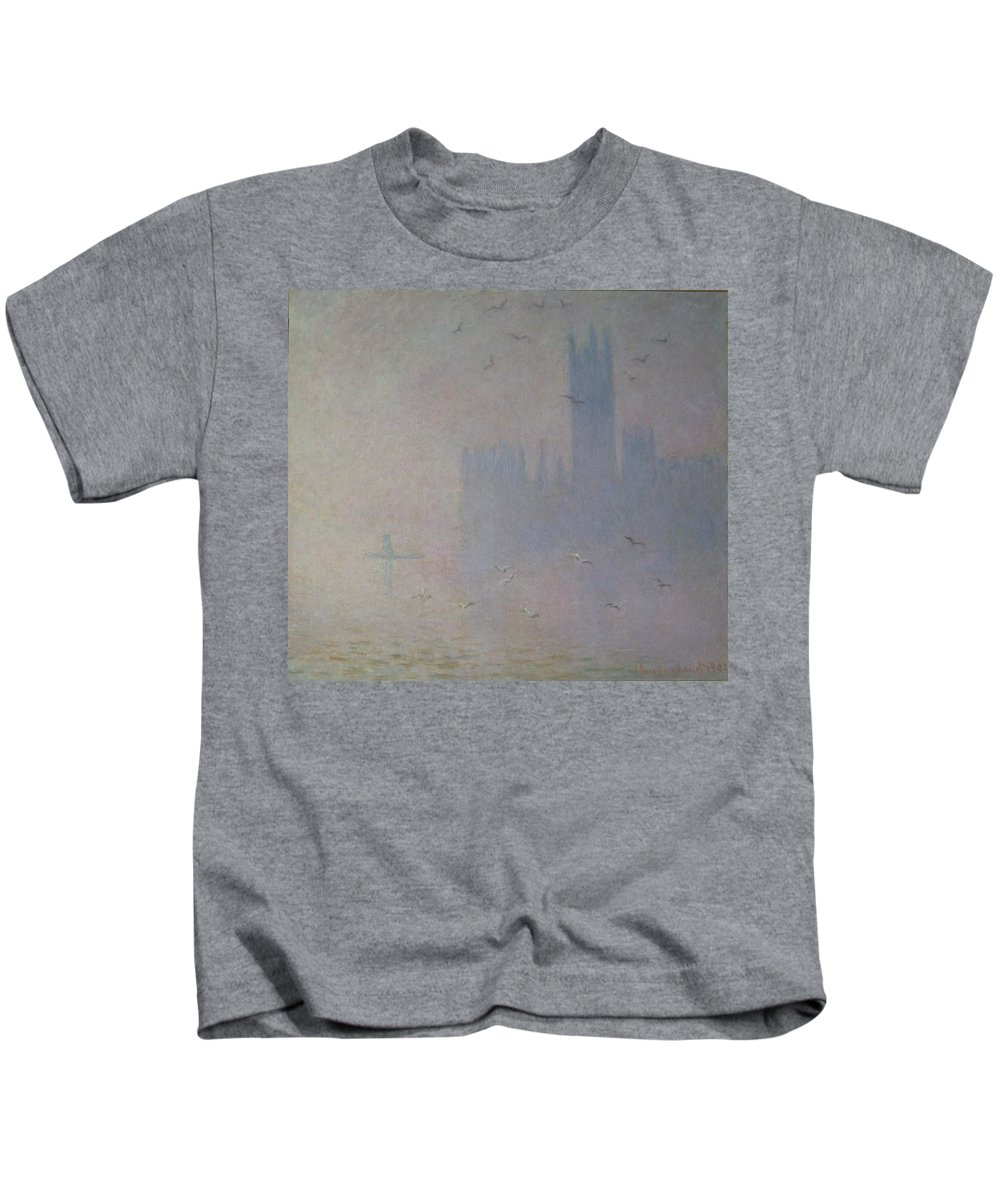 Claude Kids T-Shirt featuring the painting Seagulls Over The Houses Of Parliament by Claude Monet