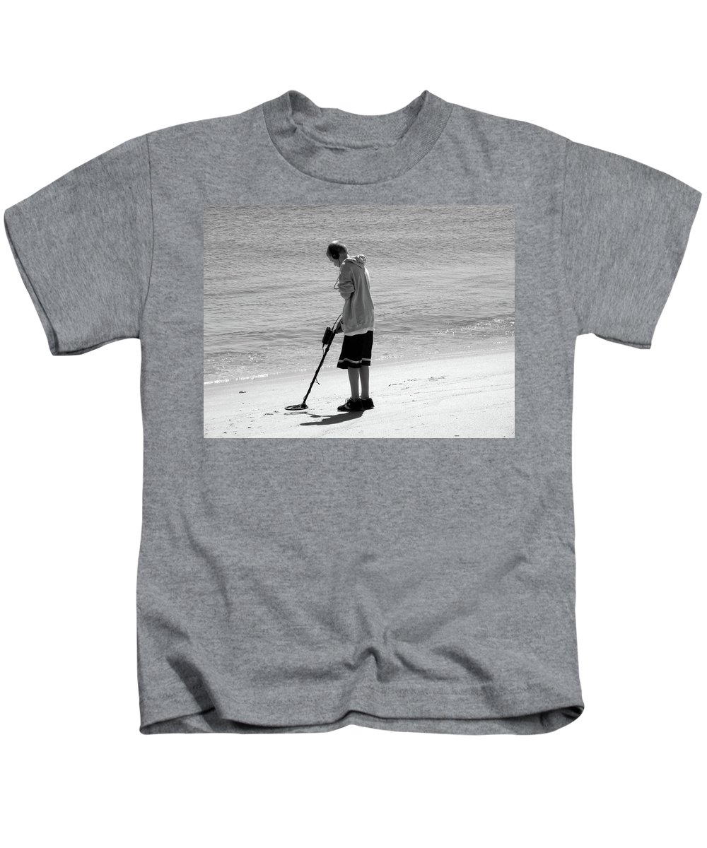 Metal Detector Kids T-Shirt featuring the photograph Searching For Patience by Trish Tritz
