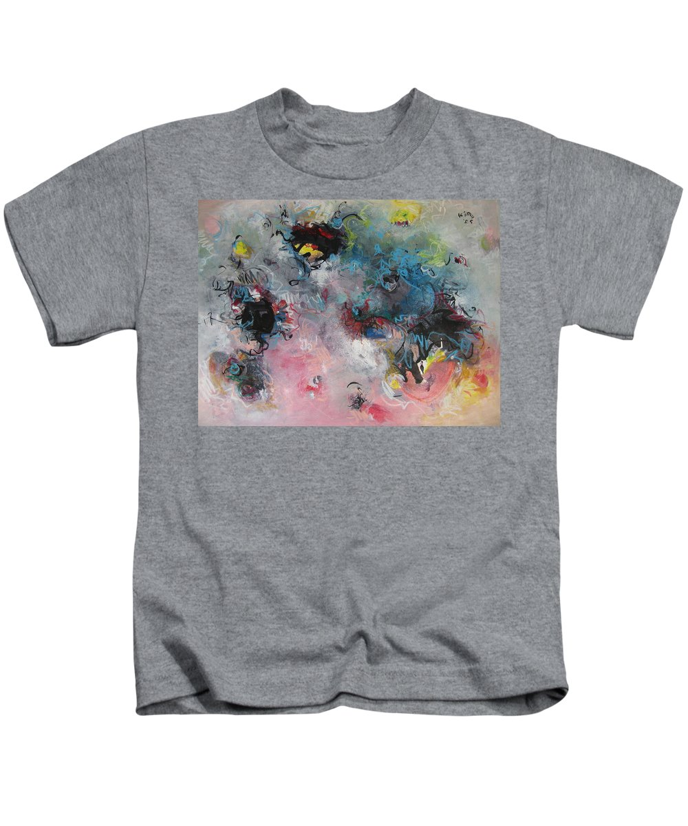 Blue Paintings Kids T-Shirt featuring the painting Seascape111 by Seon-Jeong Kim