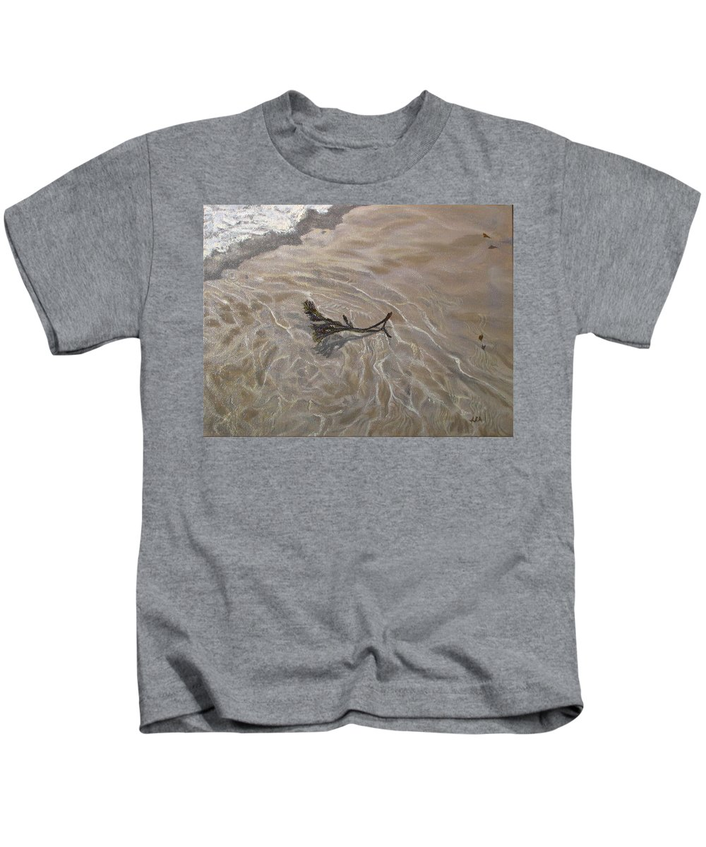 Seascape Kids T-Shirt featuring the painting Seashore Reflections by Lea Novak