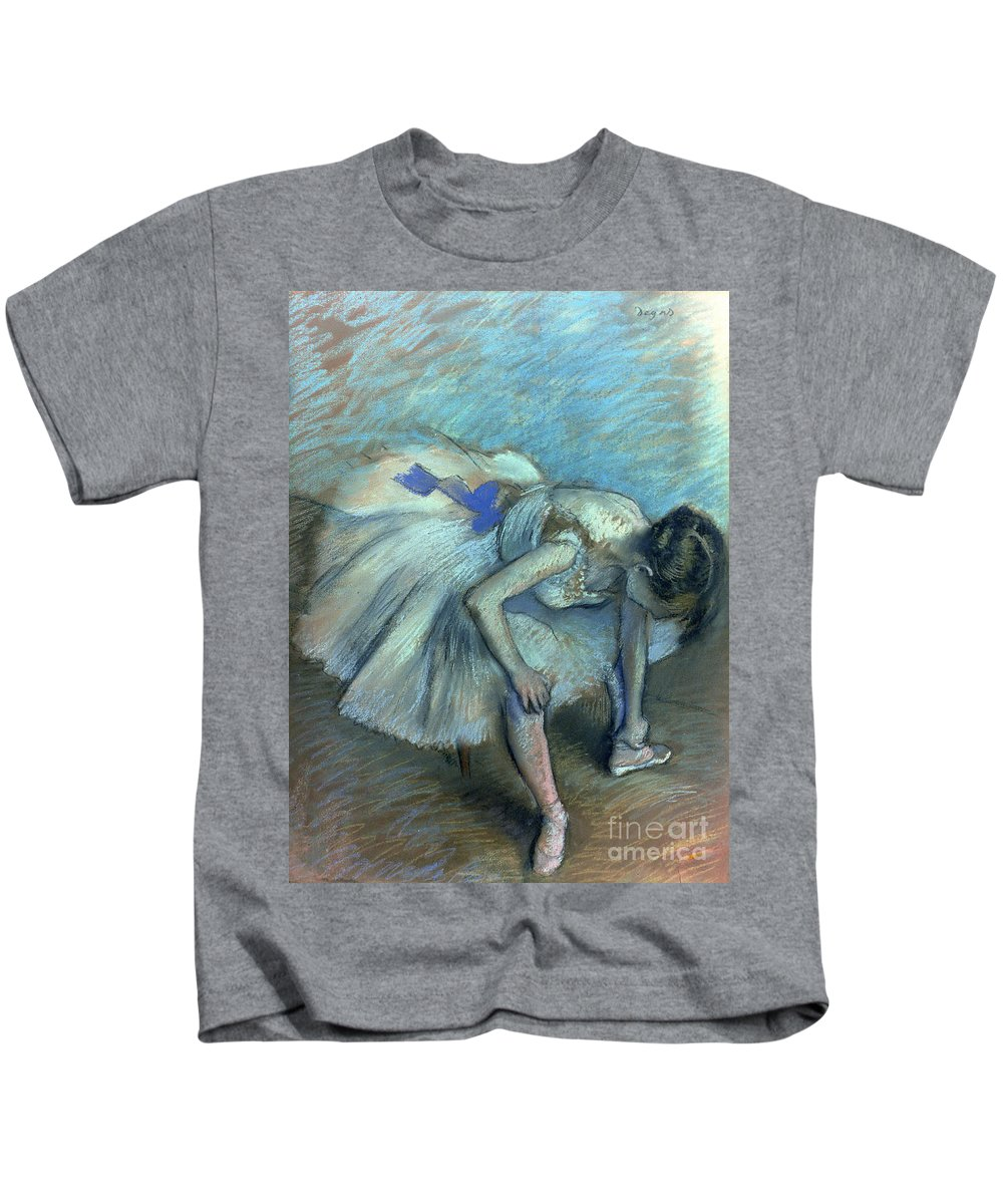 Seated Dancer Kids T-Shirt featuring the pastel Seated Dancer by Edgar Degas