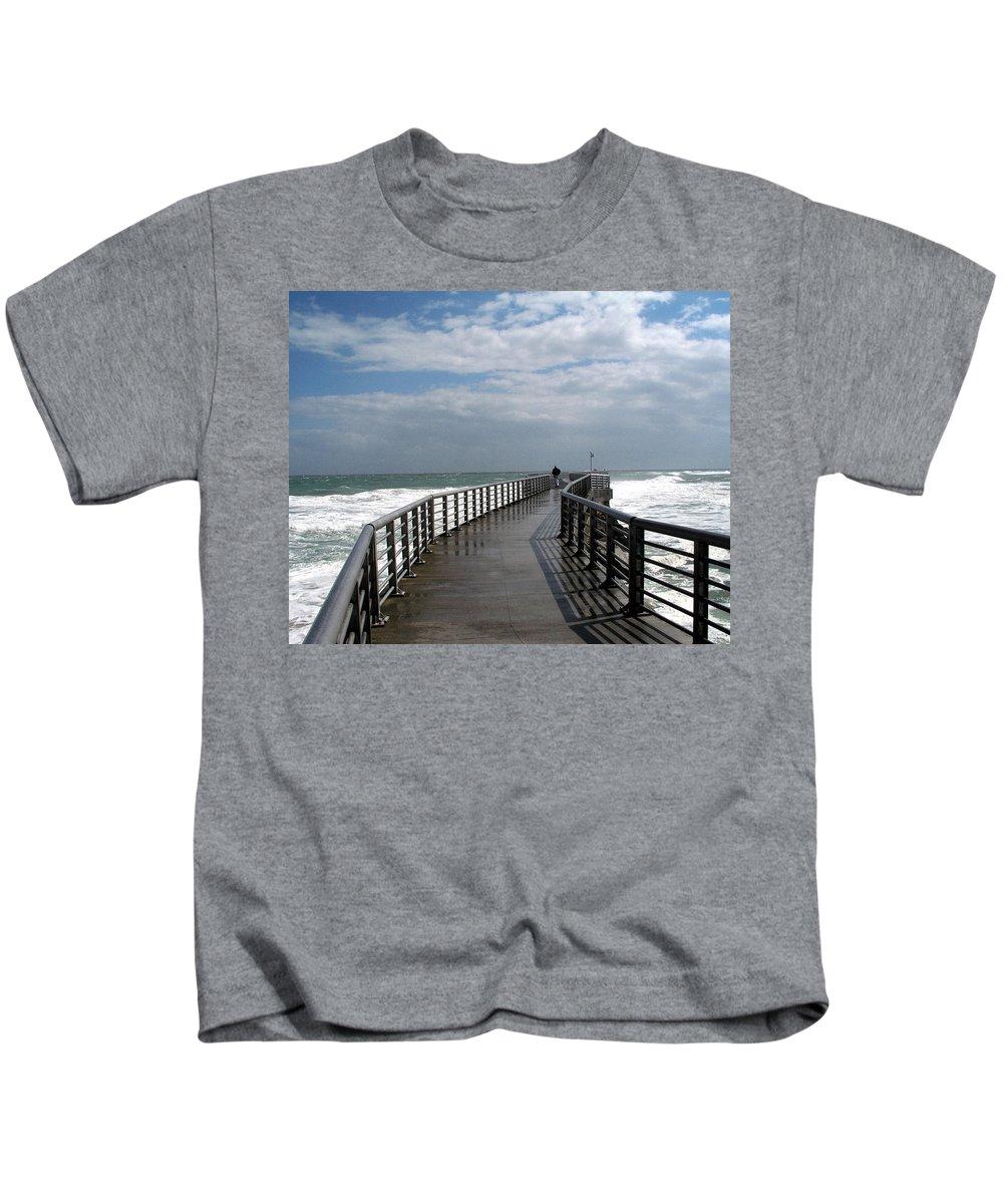 Walk; Solitary; Lonely; Sebastian; Inlet; Florida; Sea; Ocean; Water; Surf; Atlantic; Jetty; Waves; Kids T-Shirt featuring the photograph Sebastian Inlet On The Atlantic Coast Of Florida by Allan Hughes