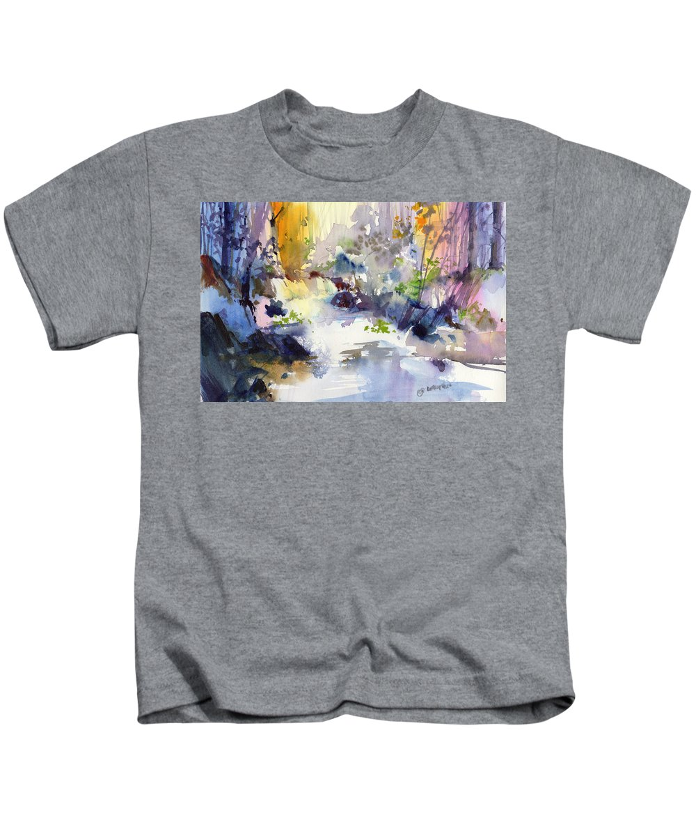 New England Scenes Kids T-Shirt featuring the painting Secret Falls by P Anthony Visco