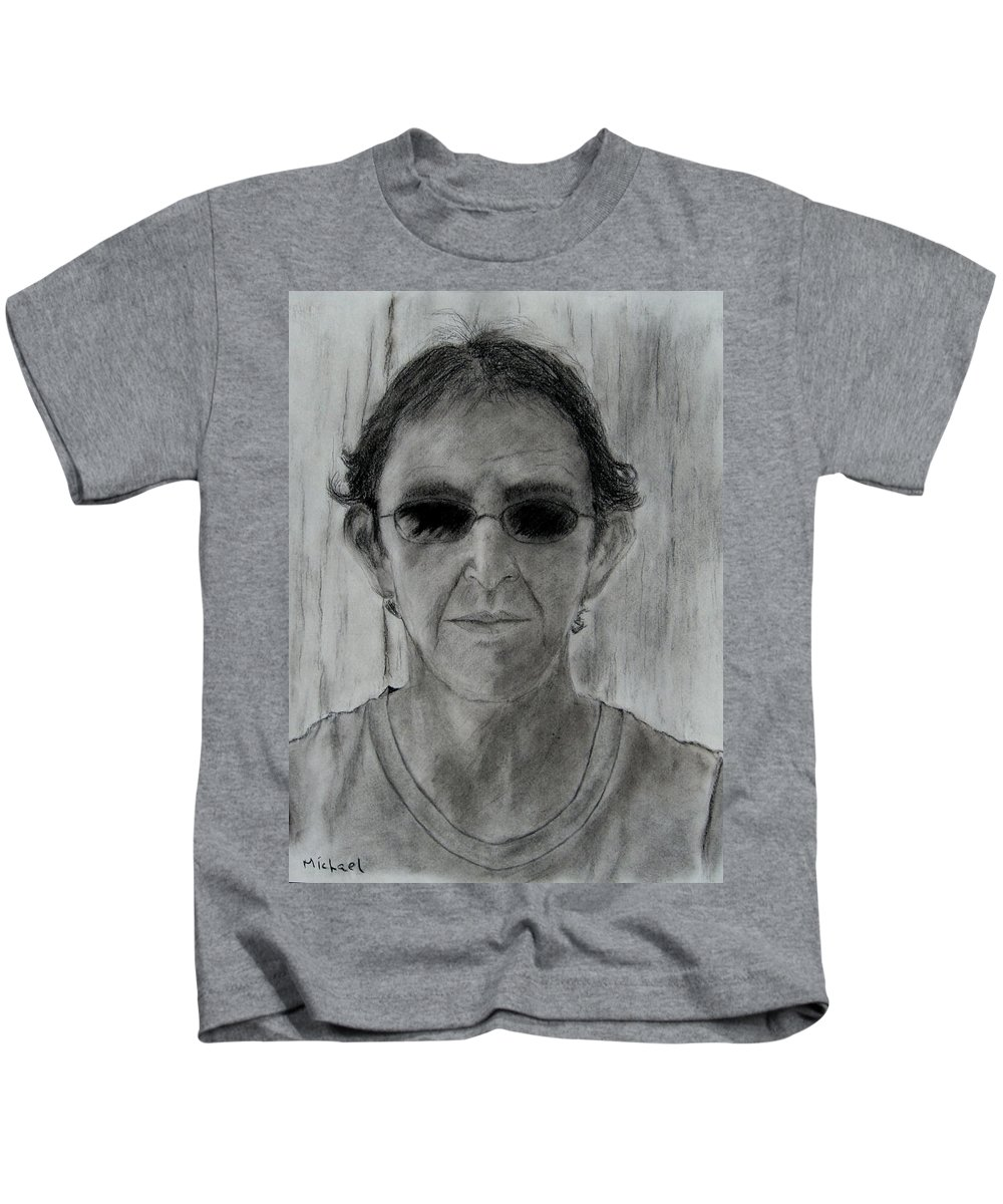 Self-portrait Kids T-Shirt featuring the drawing Self-portrait by Michael Brennan