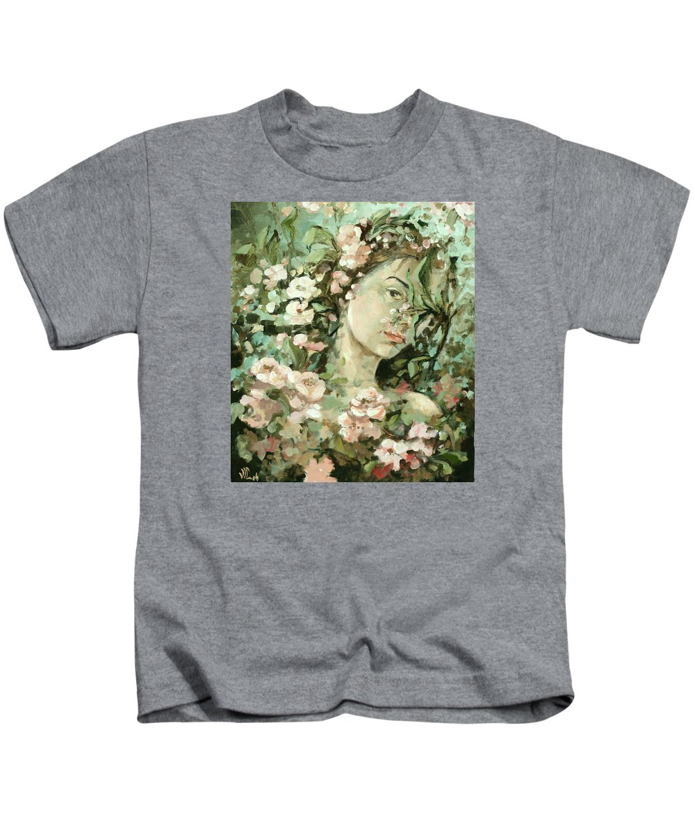 Portrait Kids T-Shirt featuring the painting Self Portrait With Aplle Flowers by Vali Irina Ciobanu