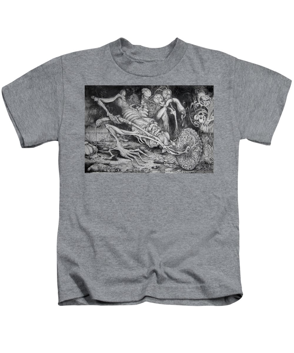 Surrealism Kids T-Shirt featuring the drawing Selfpropelled Beastie Seeder by Otto Rapp