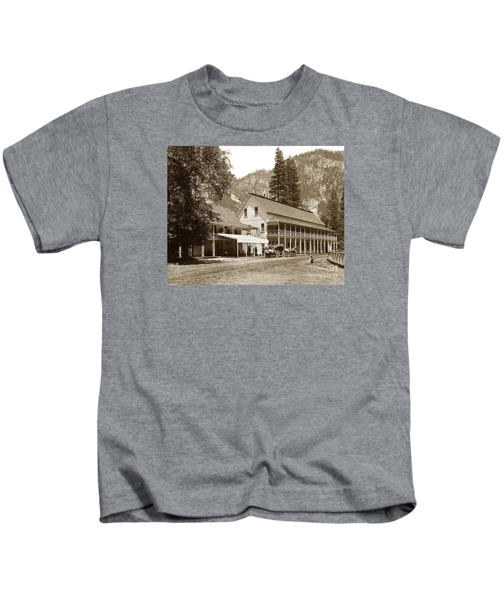 Sentinel Hotel Kids T-Shirt featuring the photograph Sentinel Hotel And Ivy And River Cottages Circa 1895 by California Views Mr Pat Hathaway Archives