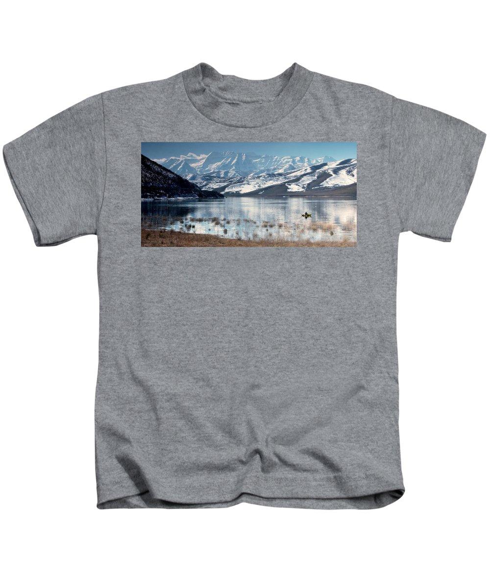 Landscape Kids T-Shirt featuring the photograph Serene Paddling by Scott Sawyer