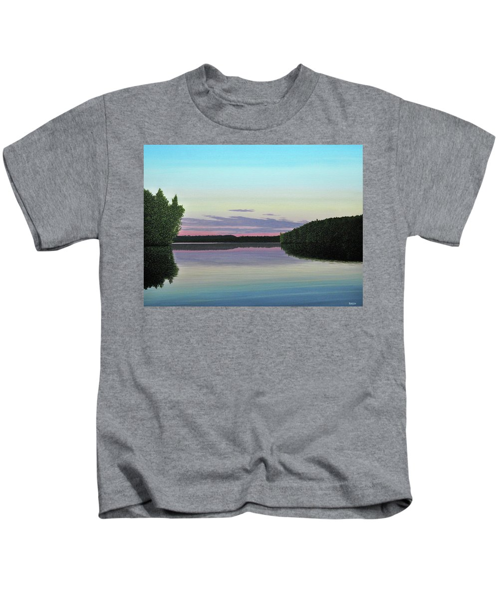 Landscape Kids T-Shirt featuring the painting Serenity Skies by Kenneth M Kirsch