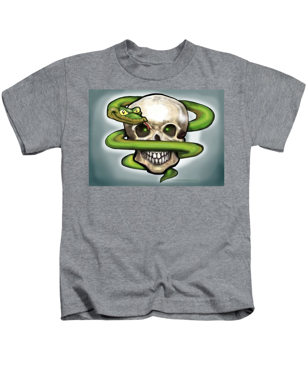 Serpent Kids T-Shirt featuring the digital art Serpent N Skull by Kevin Middleton