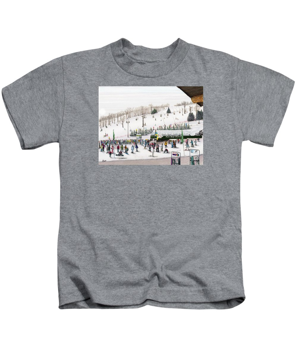 Seven Springs Kids T-Shirt featuring the painting Seven Springs Stowe Slope by Albert Puskaric
