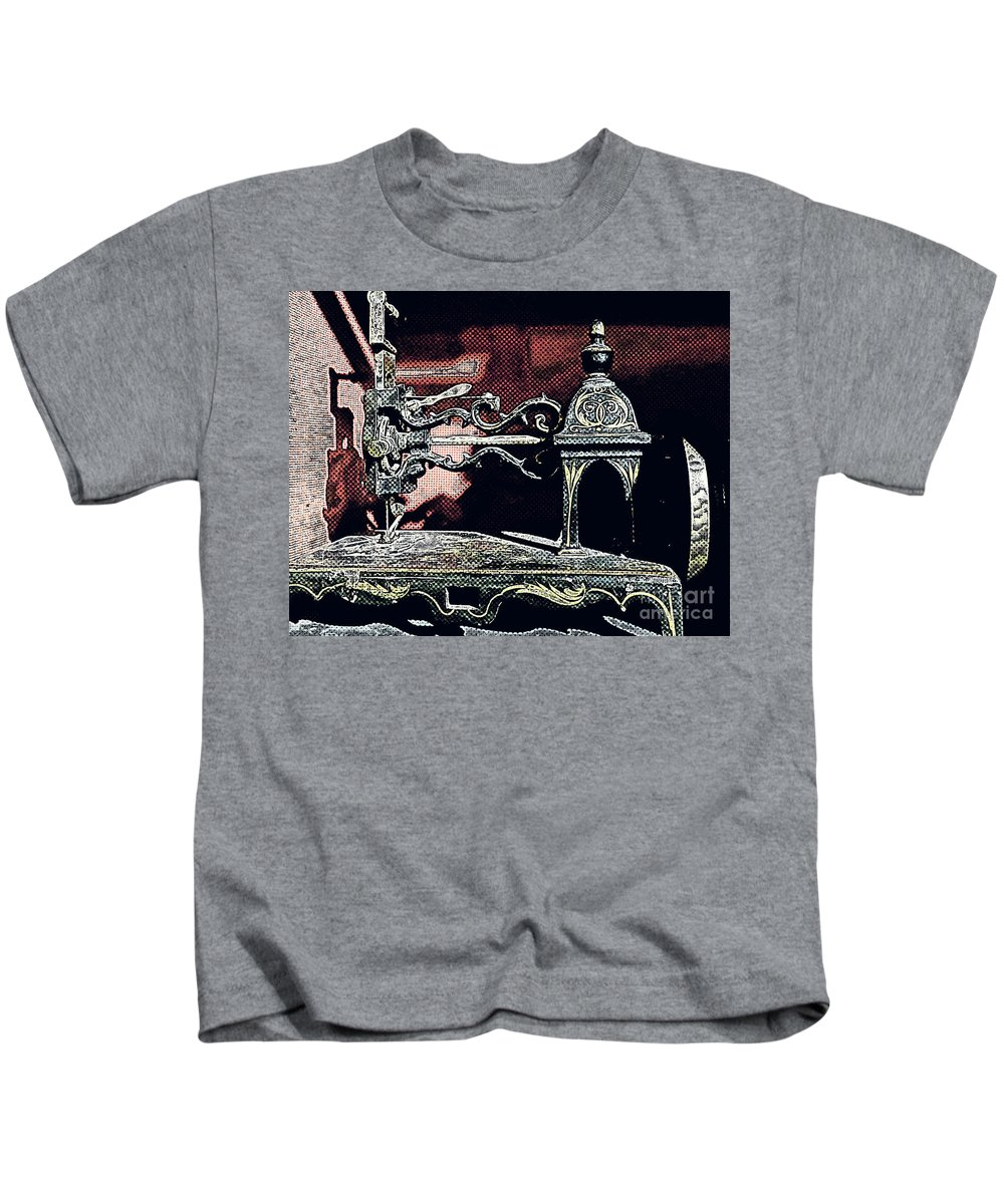Machine Kids T-Shirt featuring the digital art Sewing Machine, Needlepoint by Deborah Nakano