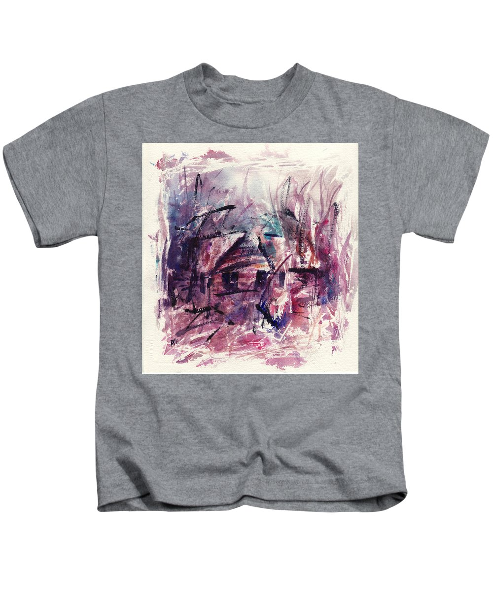 Shack Kids T-Shirt featuring the painting Shack First Movement by Rachel Christine Nowicki