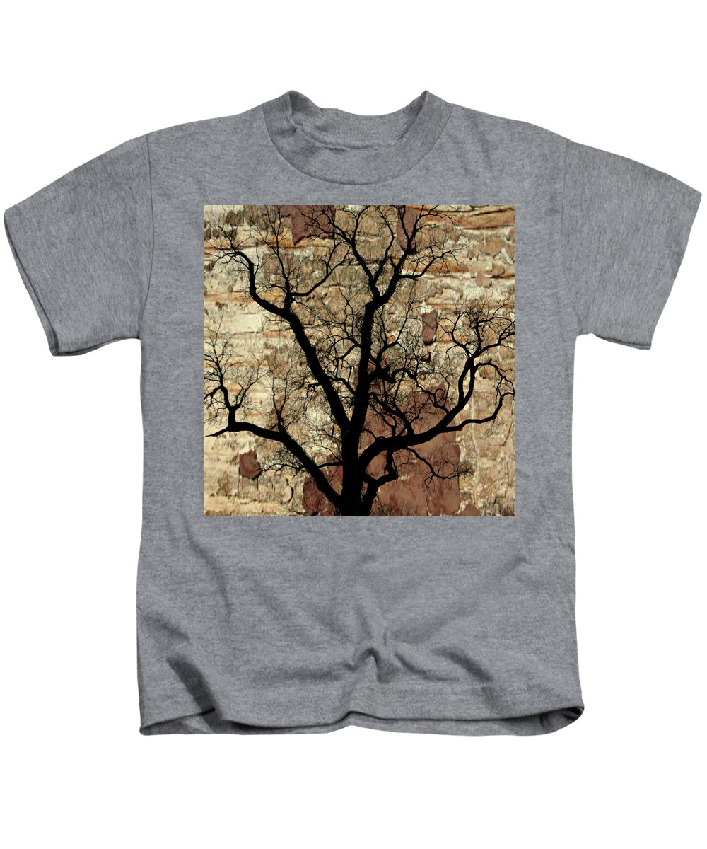 Tree Kids T-Shirt featuring the photograph Shadow Wall by Marty Koch