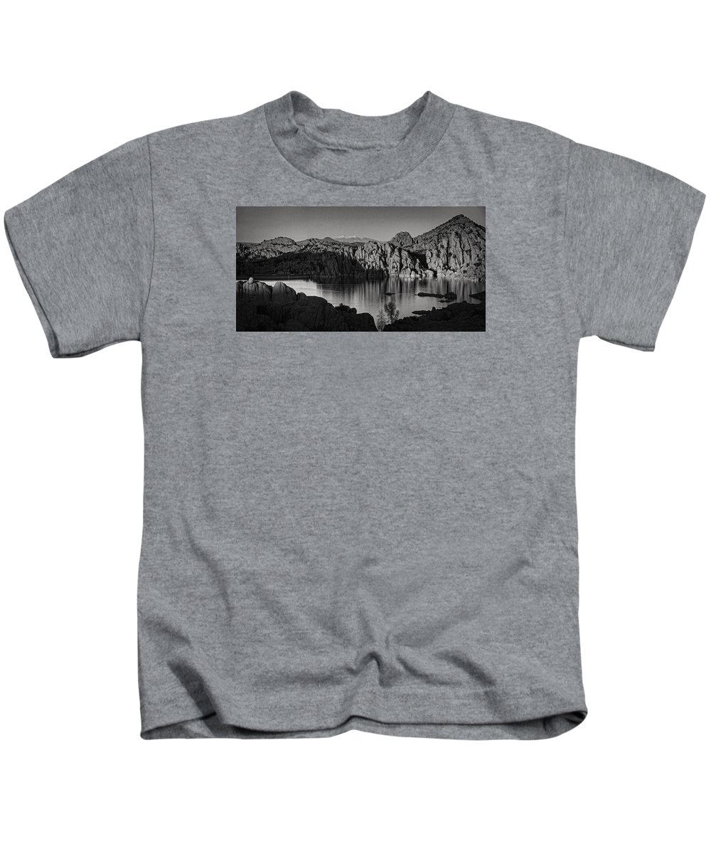 Watson Lake Kids T-Shirt featuring the photograph Shadows Of The Setting Sun Bw by Theo O'Connor