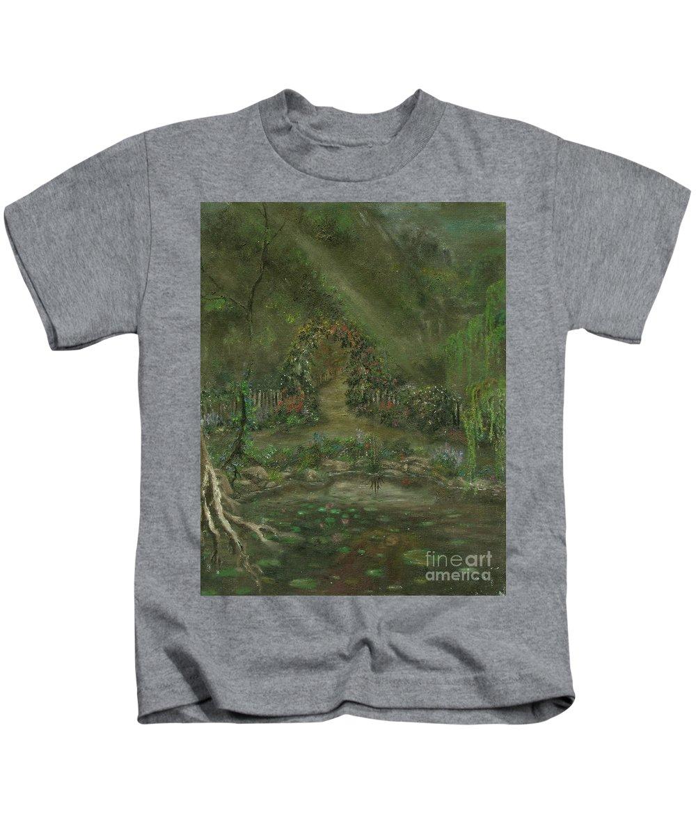 Landscape Kids T-Shirt featuring the painting Shalott by Shauna Eggleston