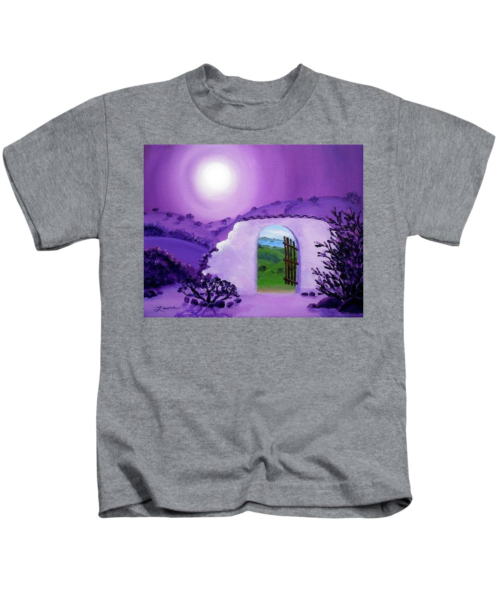 California Kids T-Shirt featuring the painting Shaman's Gate To Summer by Laura Iverson