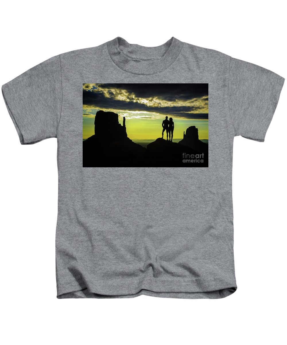 Sharing A Monument Valley Sunrise Kids T-Shirt featuring the photograph Sharing A Monument Valley Sunrise by Priscilla Burgers