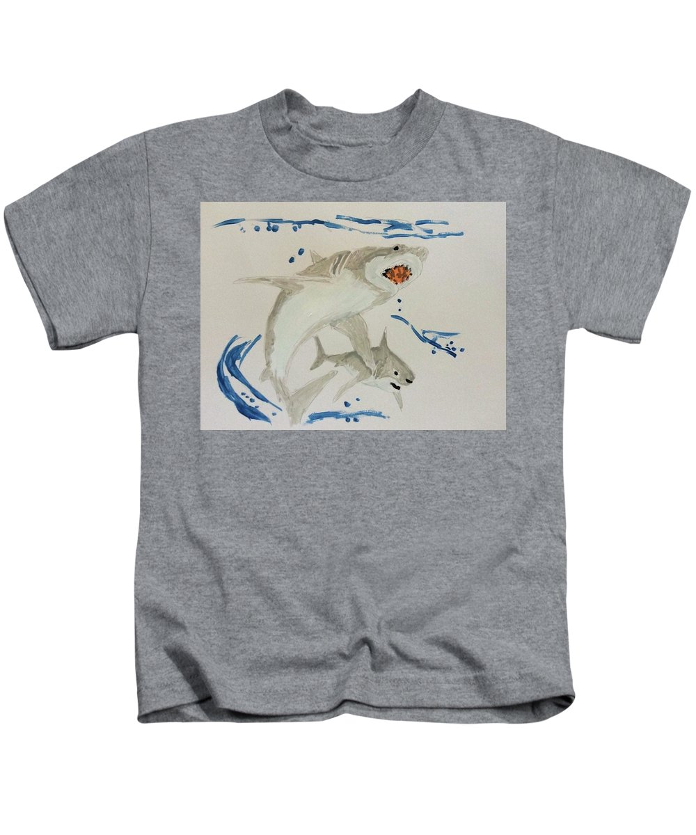 Shark Kids T-Shirt featuring the painting Sharks by Thom Futrell