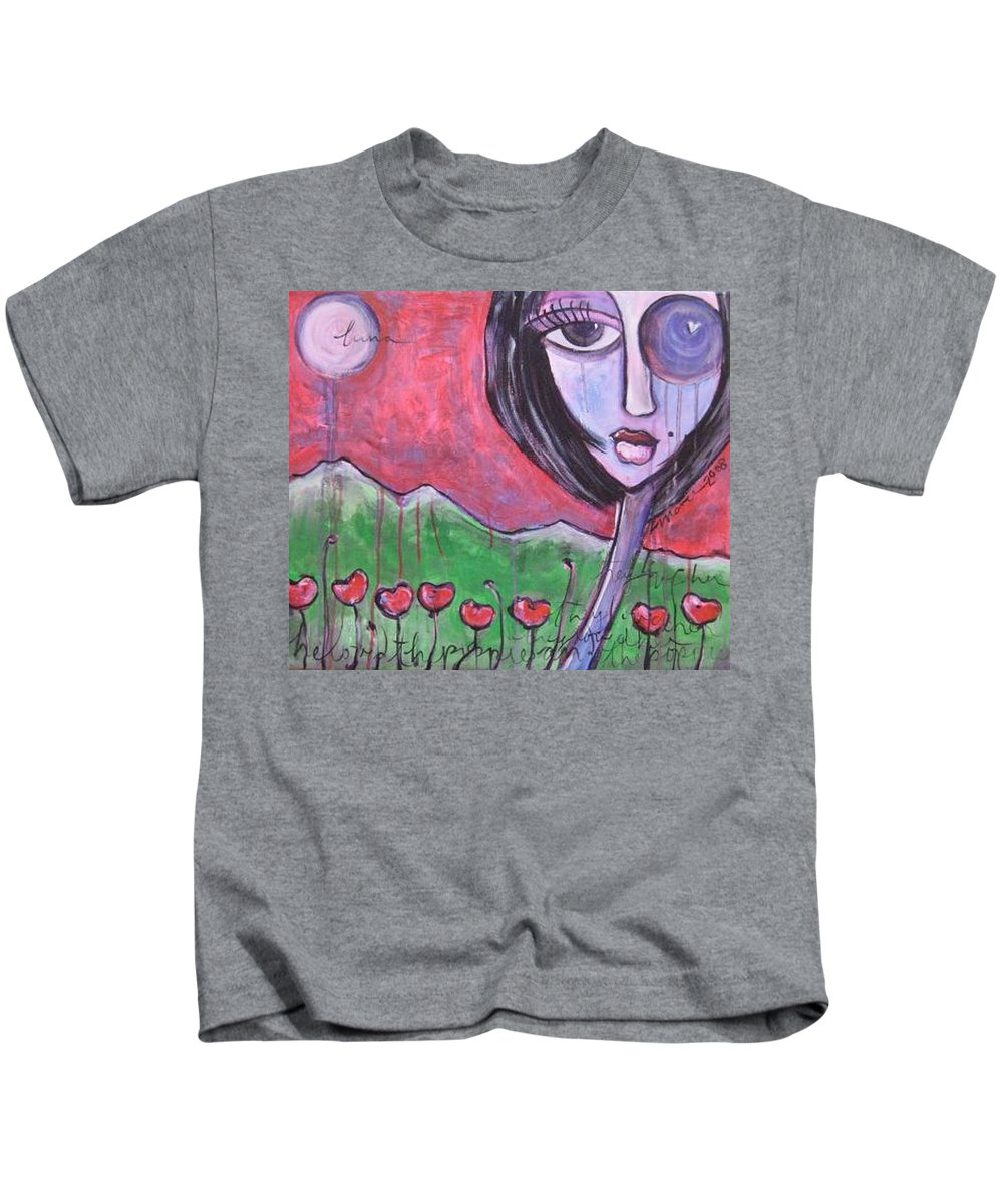 Poppies Kids T-Shirt featuring the painting She Loved The Poppies by Laurie Maves ART