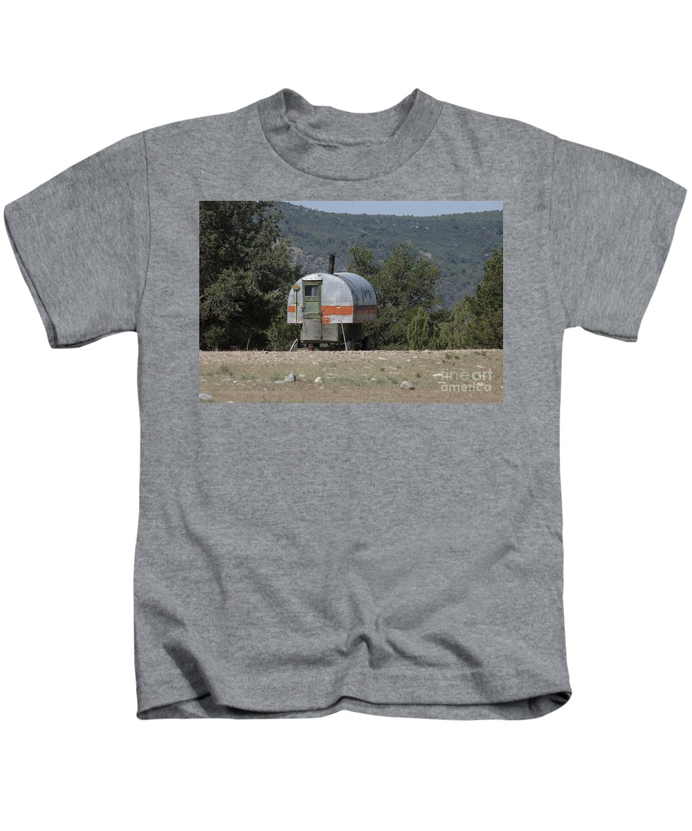 Sheep Kids T-Shirt featuring the photograph Sheep Herder's Wagon by Jerry McElroy