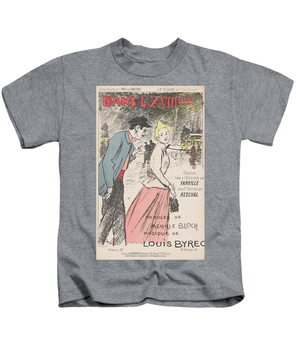 Sheet Music Dans L'xviii�me By Achille Bloch And Louis Byrec Kids T-Shirt featuring the painting Sheet Music Dans Lxviii Me by MotionAge Designs