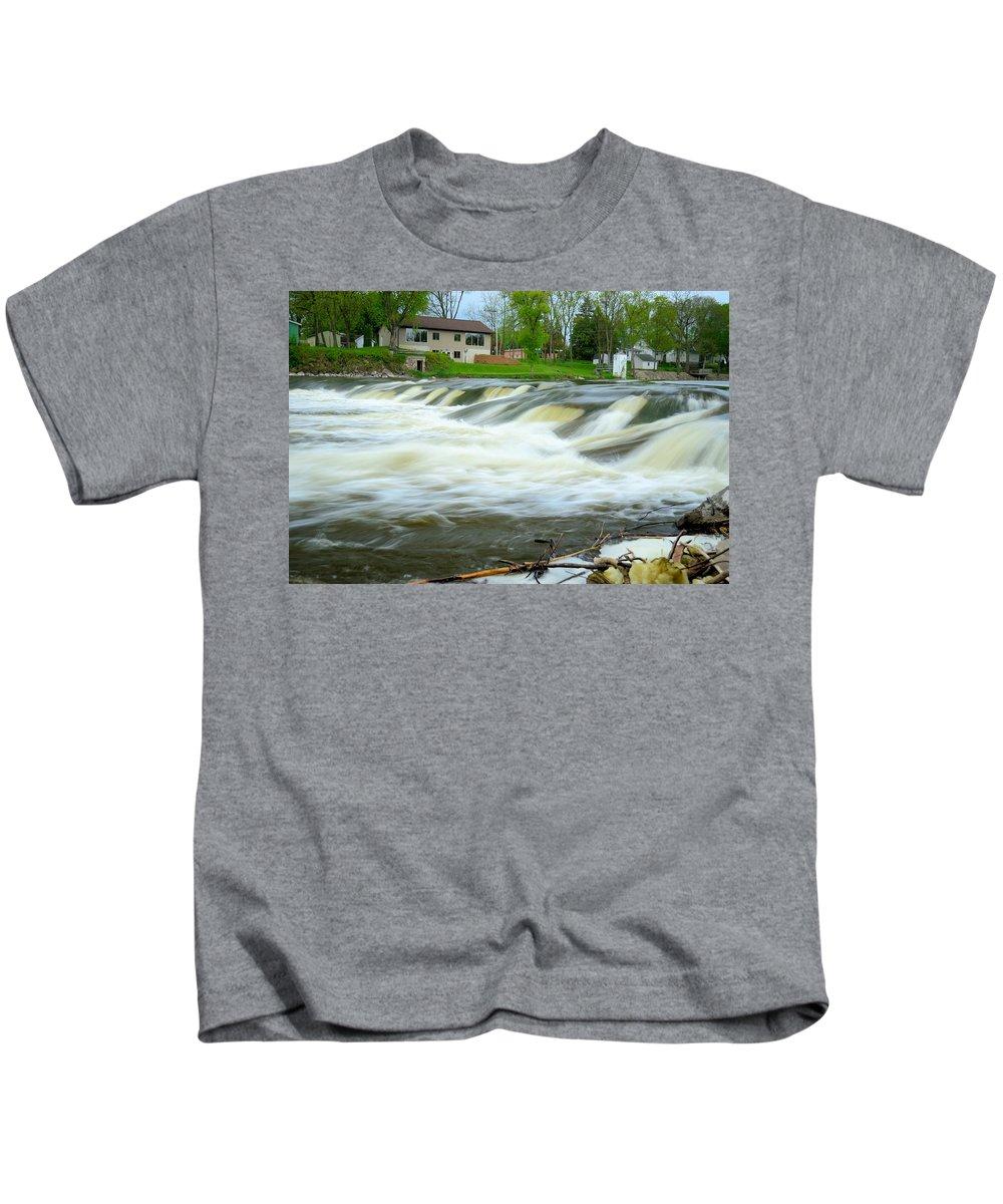 River Kids T-Shirt featuring the photograph Shell Rock Iowa Dam 2 by Bonfire Photography