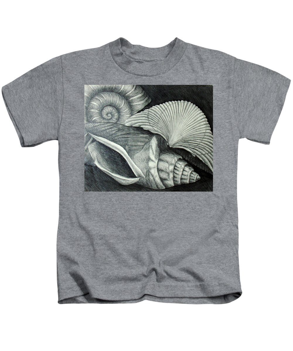 Shells Kids T-Shirt featuring the drawing Shells by Nancy Mueller