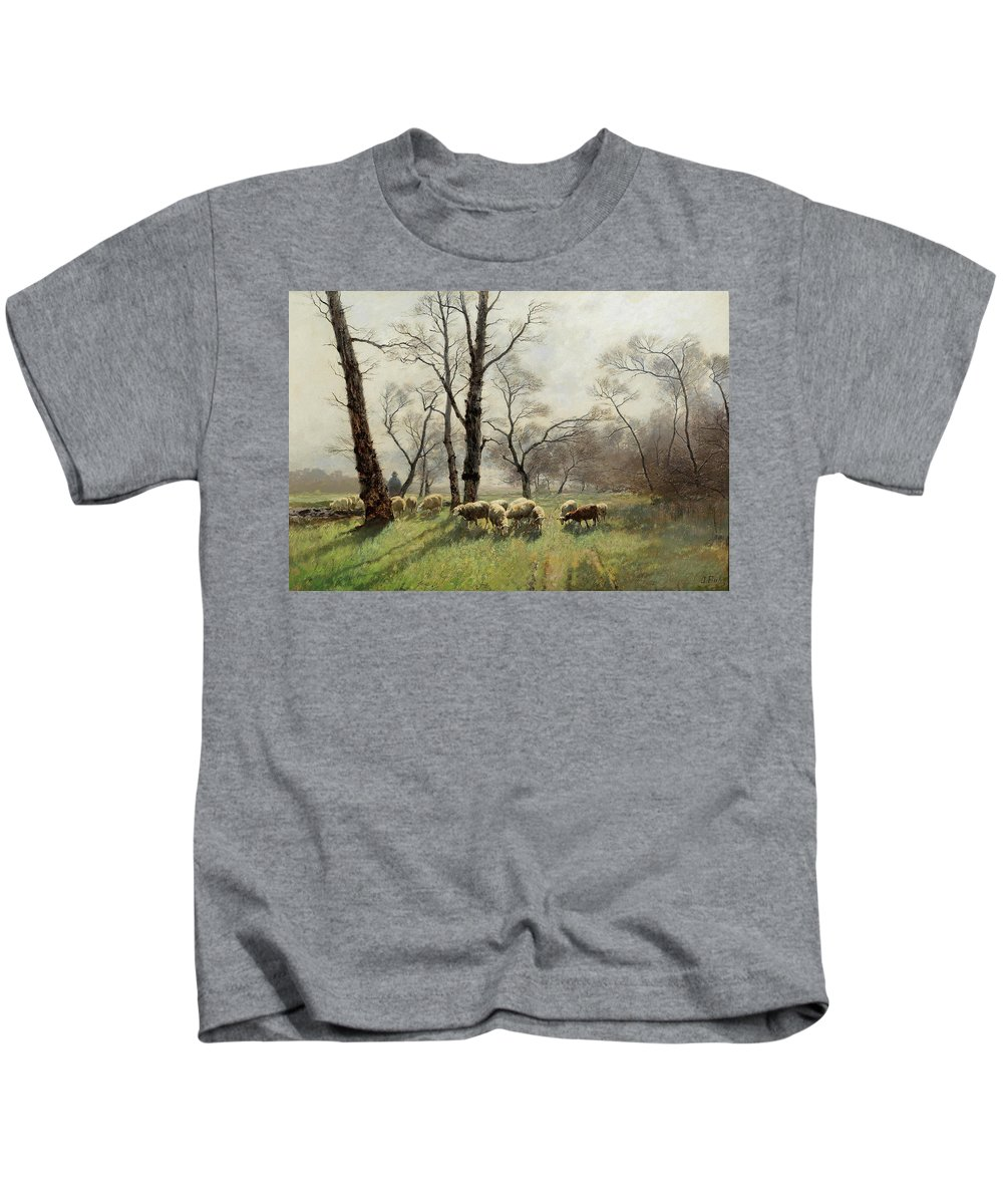 August Fink Kids T-Shirt featuring the painting Shepherd With His Flock In The Evening Light by August Fink