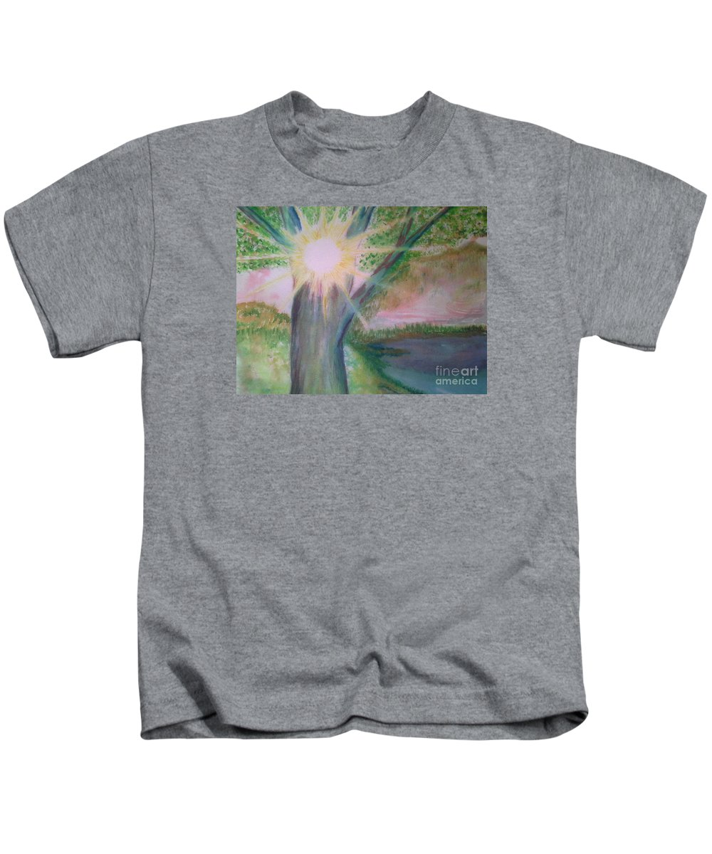 Landscape Kids T-Shirt featuring the painting Shine Thru by Nadine Cotton