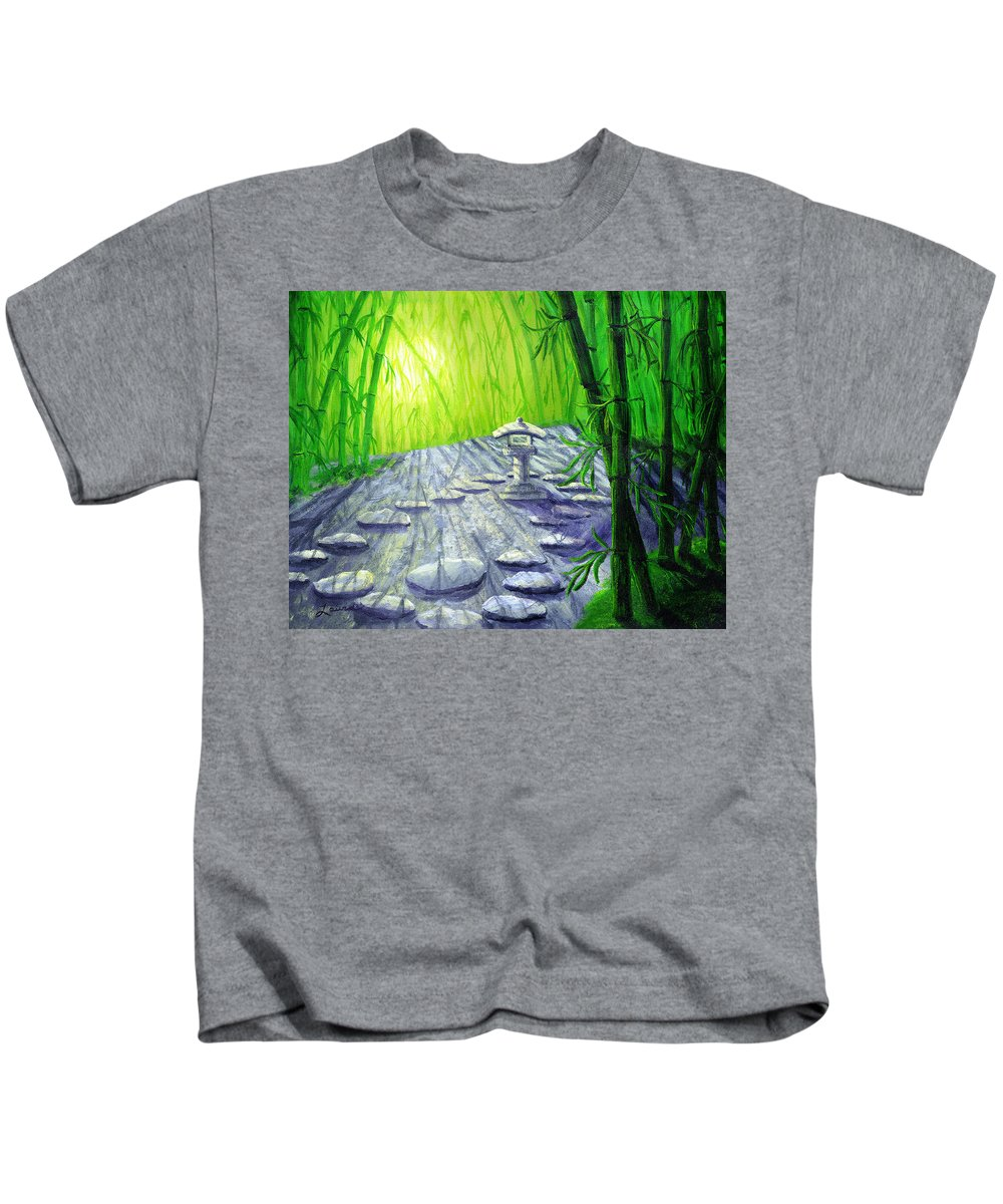 Zen Kids T-Shirt featuring the painting Shinto Lantern In Bamboo Forest by Laura Iverson