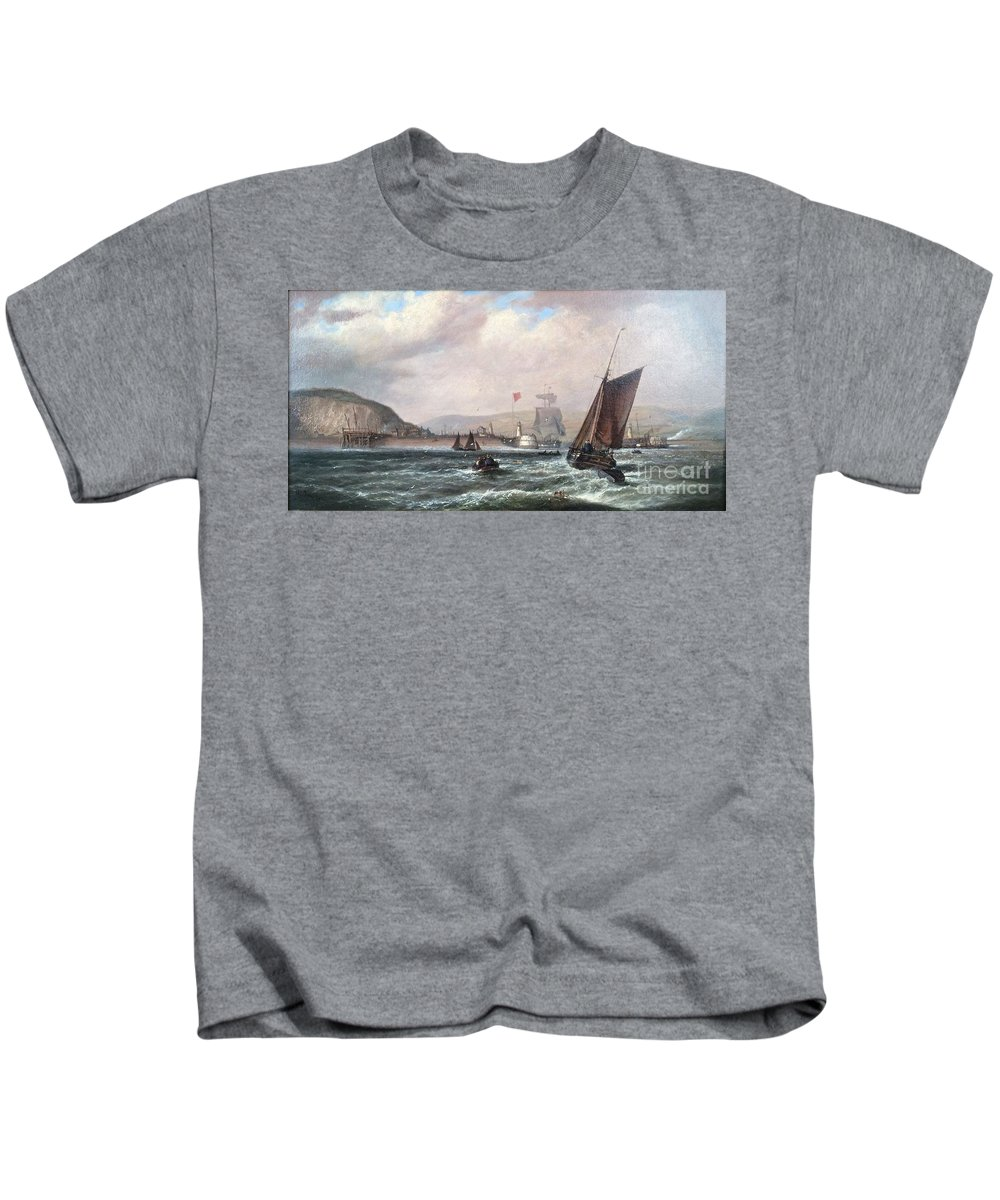 Isaac Walter Jenner Kids T-Shirt featuring the painting Shipping Off Newhaven Harbour by MotionAge Designs