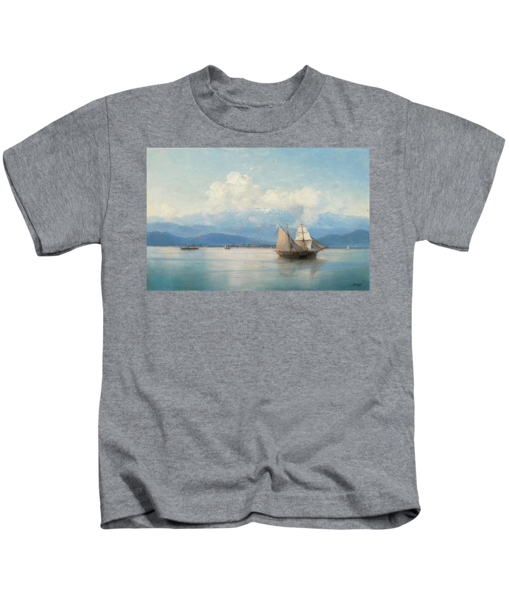 Aivazovsky Kids T-Shirt featuring the painting Ships Before The Caucasian Coast by Aivazovsky