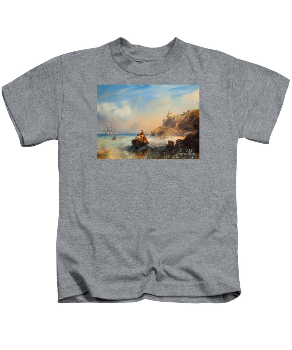 Theodore Gudin Kids T-Shirt featuring the painting Ships By The Coast by Celestial Images