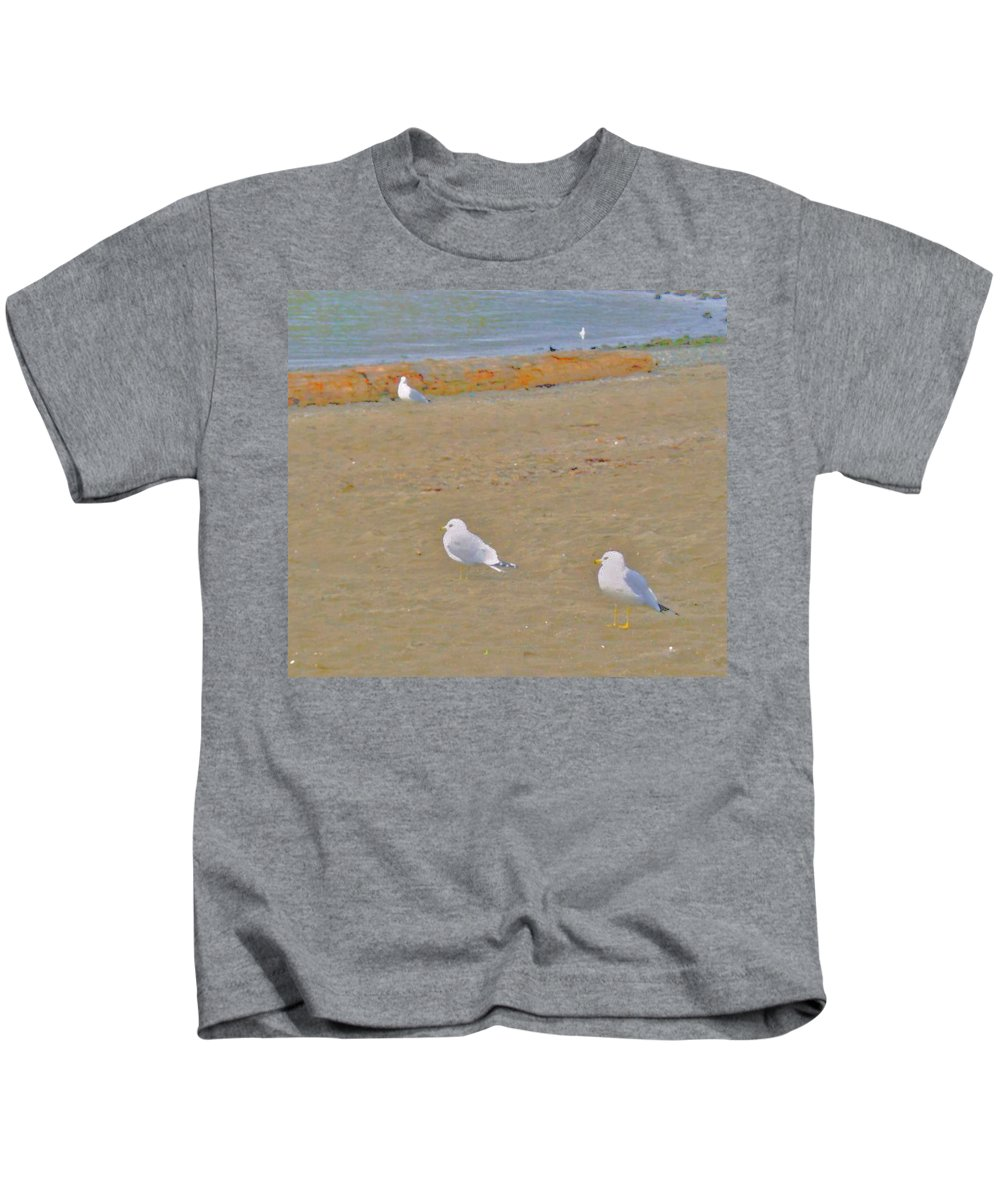 Abstract Kids T-Shirt featuring the photograph Shorebirds by Lenore Senior