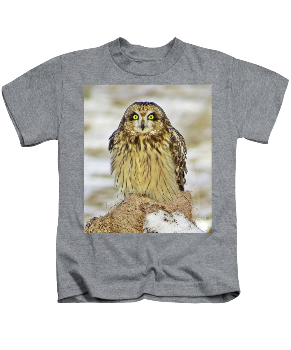Owl Kids T-Shirt featuring the photograph Short-eared Owl by J L Kempster