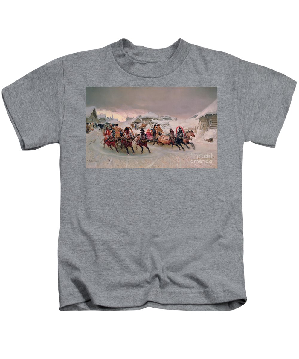 Bal194495 Kids T-Shirt featuring the painting Shrovetide by Petr Nicolaevich Gruzinsky