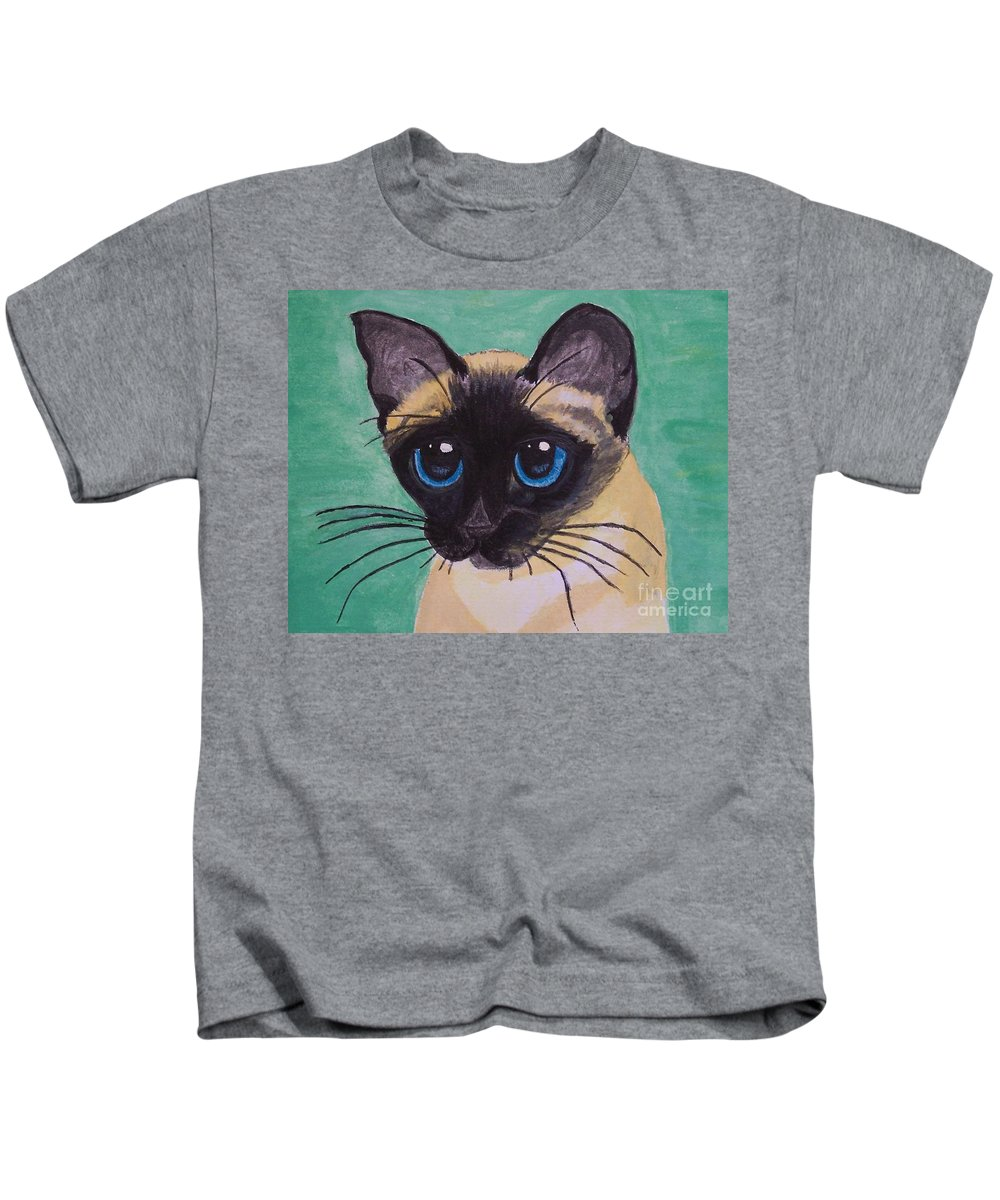 Cat Kids T-Shirt featuring the painting Siamese by Leslie Allen
