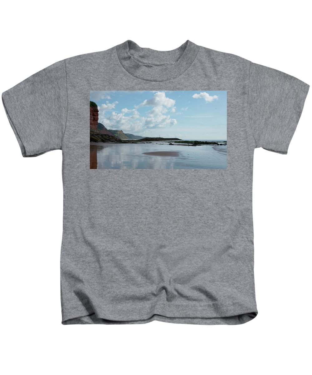 Sea Side Town Kids T-Shirt featuring the photograph Sidmouth Beach by Mike Finding