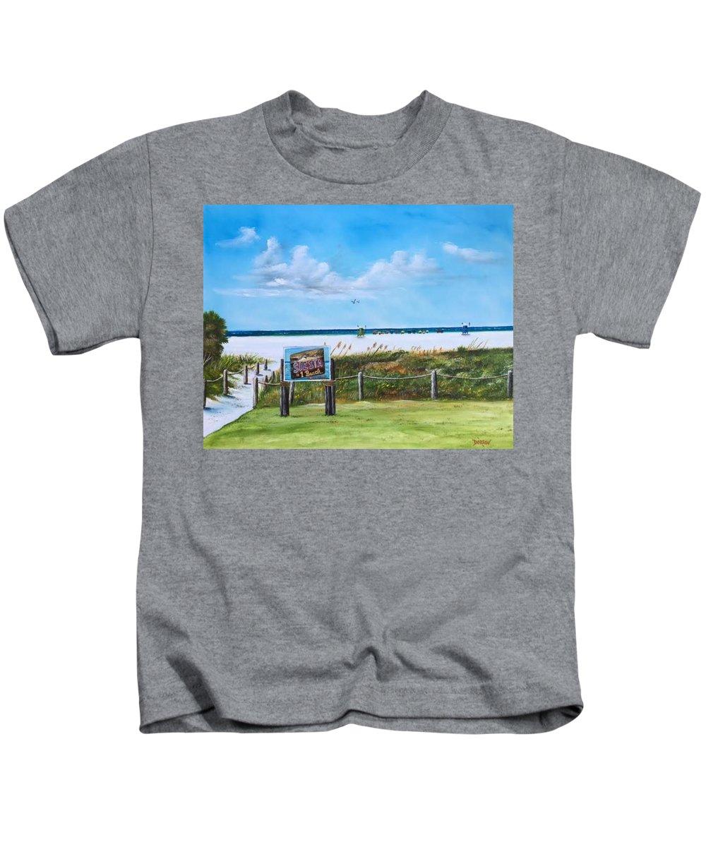 Siesta Key Kids T-Shirt featuring the painting Siesta Key Public Beach by Lloyd Dobson