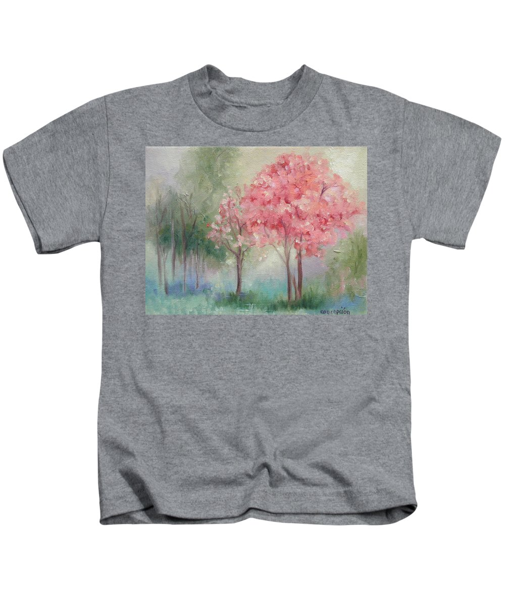 Spring Kids T-Shirt featuring the painting Sign of Spring by Ginger Concepcion