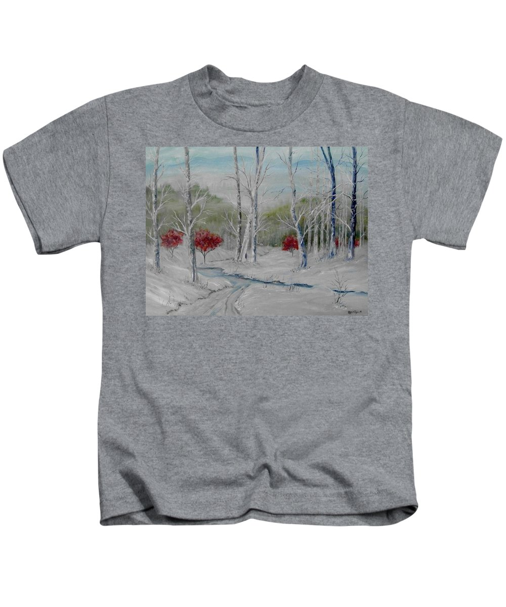 Snow; Winter; Birch Trees Kids T-Shirt featuring the painting Silence by Ben Kiger