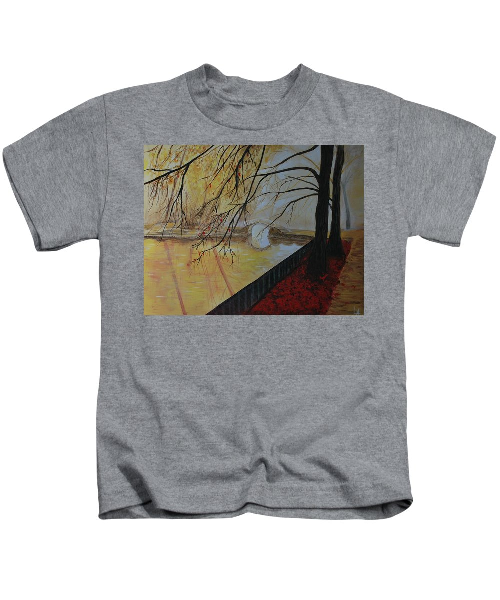 Bridge Painting Kids T-Shirt featuring the painting Silence by Leslie Allen