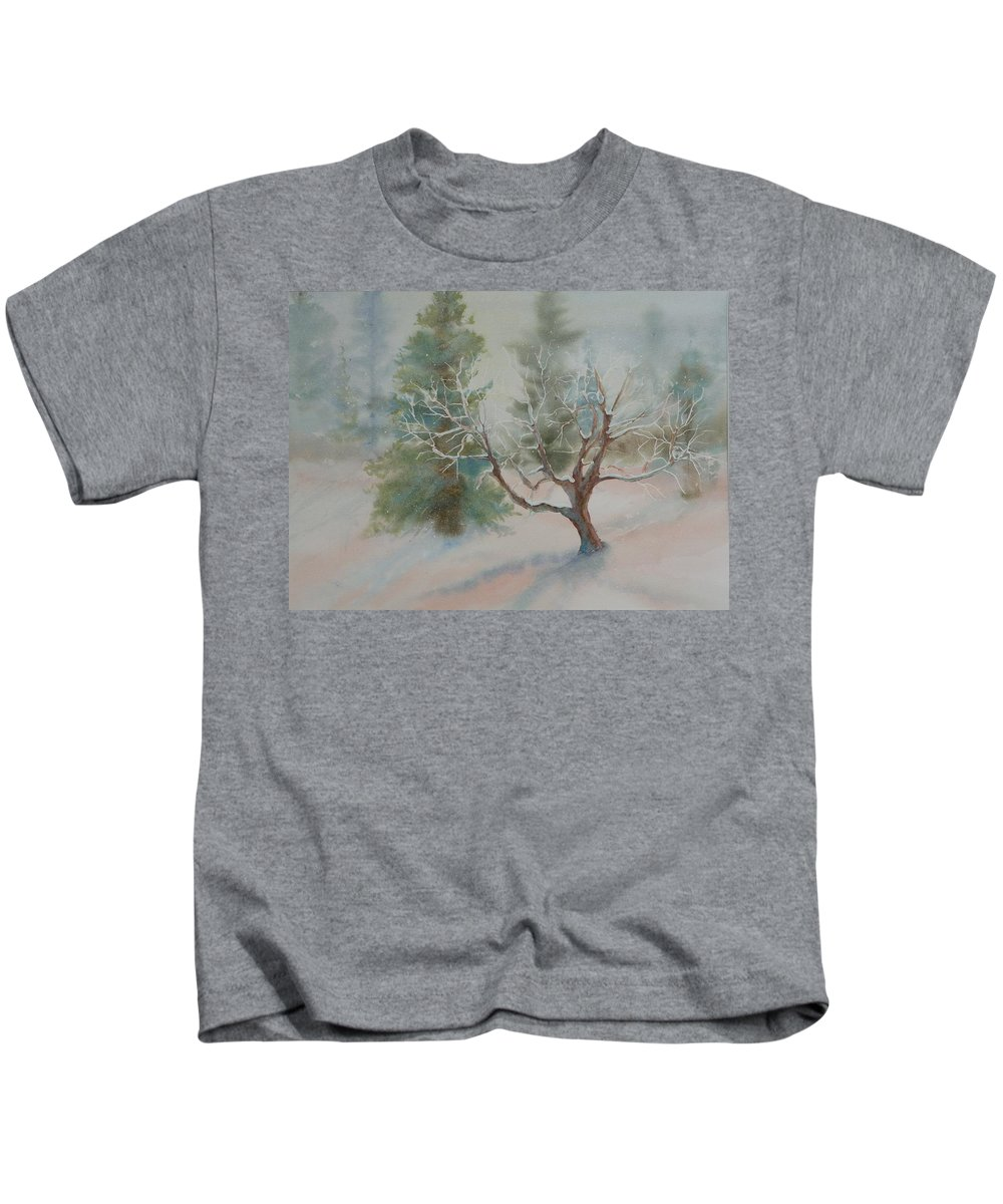 Snow Kids T-Shirt featuring the painting Silence by Ruth Kamenev